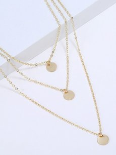 Multi Layered Circles Shape Golden Pendant Necklace