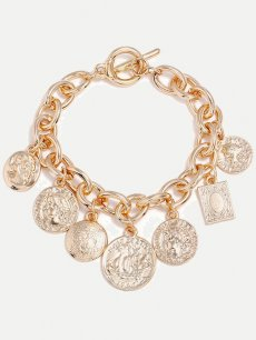 Coins Shape Alloy Golden Chain Bracelet