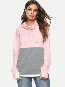 Color Block Heaps Collar Drawstring Sweatshirt