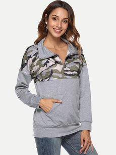 Color Block Lapel Camo Sweatshirt
