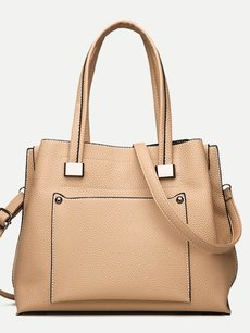 Solid Pocket Detail PU Tote Shoulder Bag