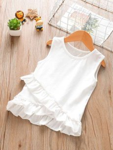Toddler Girls Solid Ruffle Vest
