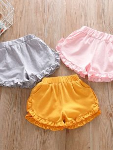 Toddler Girls Solid Ruffle Shorts