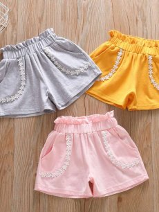 Toddler Girls Lace Trim Solid Shorts