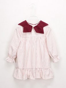 Toddler Girls Peter Pan Collar Stripes Print Long Sleeve Dress