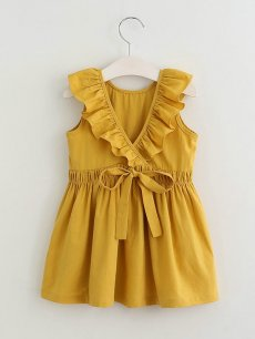 Toddler Girls Solid Backless Sleeveless Dress