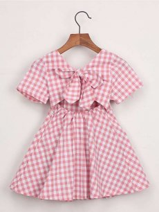 Toddler Girls Bow Back Plaid Dress