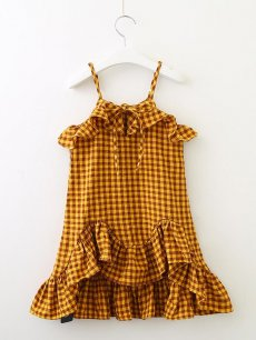 Toddler Girls Plaid Print Falbala Hem Sleeveless Slip Dress