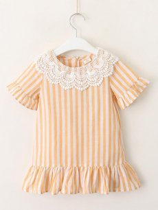 Toddler Girls Lace Collar Striped Dress