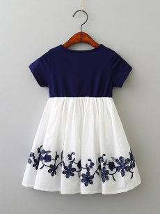 Toddler Girls Letters Print Embroidery Flowers Casual Dress