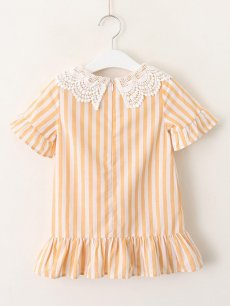 Toddler Girls Stripes Print Lace Patchwork Dress