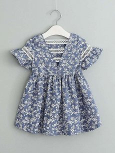 Toddler Girls Floral Print Hollow Back Lace Blue Dress