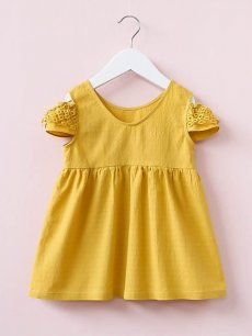 Toddler Girls Lace Patchwork Off Shoulder Solid Color Yellow Dress