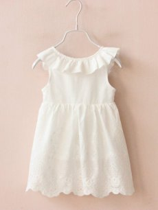 Toddler Girls Solid Color Backless Bowknot White Sleeveless Dress