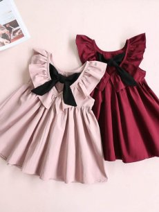Toddler Girls Backless Bowknot Solid Color Ruffles Sleeveless Dress