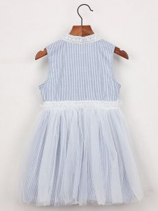 Toddler Girls Stripes Print Mesh Lace Patchwork Sleeveless Blue Tutu Dress