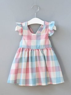 Toddler Girls Plaid Color Block Backless Dress