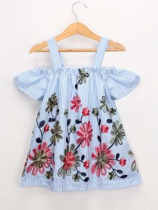 Toddler Girls Embroidery Flowers Off Shoulder Blue Slip Dress