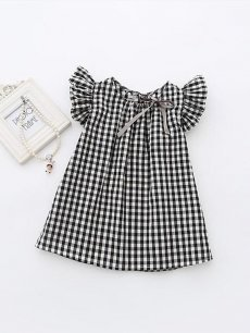 Toddler Girls Plaided Print Black Cotton Dress