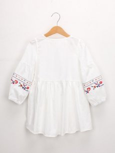 Toddler Girls Embroidery Flowers Lacing Tassels Long Sleeve Dress