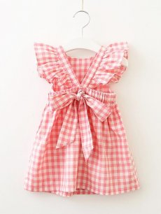 Toddler Girls Plaid Print Backless Bowknot Cute Sleeveless Dress