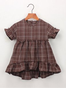 Toddler Girls Plaid Print Falbala Hem Dress
