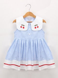 Toddler Girls Lapel Stripes Print Blue Sleeveless Dress