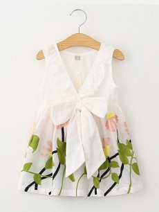 Toddler Girls Floral Print Backless Bowknot Sleeveless Dress