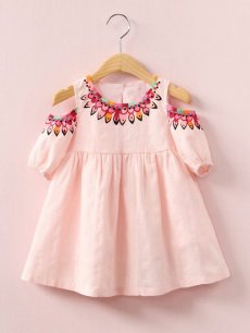 Toddler Girls Floral Print Off Shoulder Short Sleeve Dress