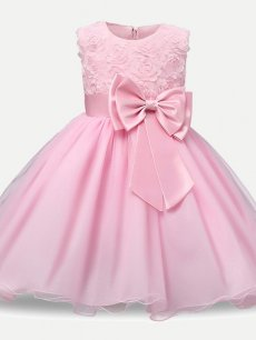 Toddler Girls Solid Lace Flowers Bowknot Sleeveless Tulle Princess Gown Dress