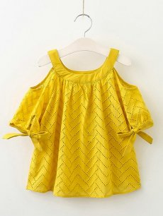 Toddler Girls Off Shoulder Hollow Bowknots Short Sleeve Dress