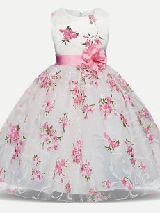 Toddler Girls Lace Floral Print Bowknot Sleeveless Tulle Princess Gown Dress