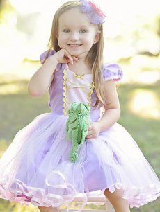 Toddler Girls Purple Mesh Patchwork Tulle Princess Gown Birthday Dress