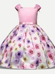 Toddler Girls Floral Print Bowknot Short Sleeve Gown Dress