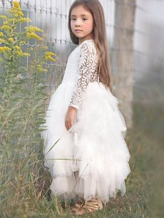 Toddler Girls Lace Mesh Tutu Long Sleeve Dress