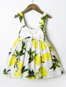 Toddler Girls Floral Print Bowknot Sleeveless Casual Dress
