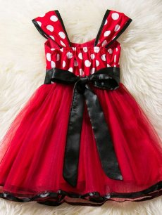 Toddler Girls Polka Dot Bow Decor Tutu Dress