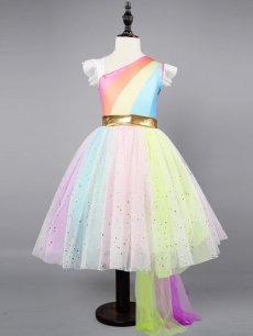 Toddler Girls Color Block Stripes Print Tulle Sleeveless Gown Dress