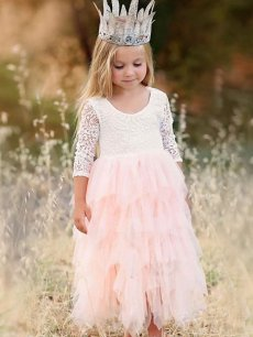 Toddler Girls Lace Mesh Patchwork Flowers Tulle Long Sleeve Gown Dress