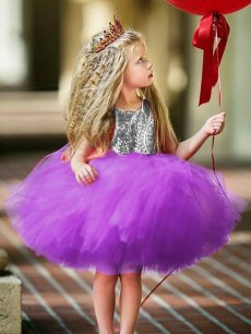 Toddler Girls Sequins Backless Tulle Sleeveless Gown Princess Dress