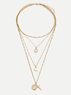 Circle Cross Shape Layered Golden Pendant Necklace