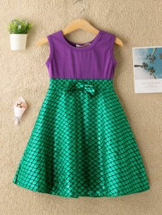 Toddler Girls Fish Scale Print Bowknot Sleeveless Casual Dress