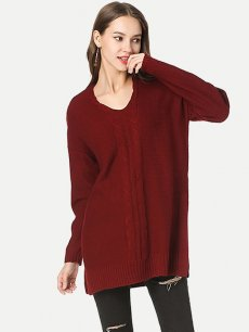Solid V Neck Slit Side Knit Sweater
