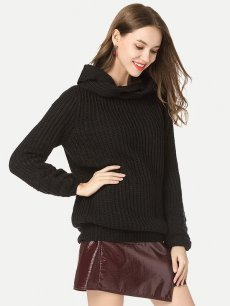 Solid High Neck Jumper Sweater