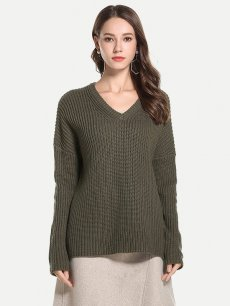 Vinfemass Loose V-neck Plus Size Solid Jumper