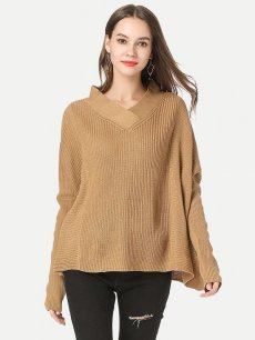 Womens Knit Sweater Jumper V Neck Loose Solid Color Pullover