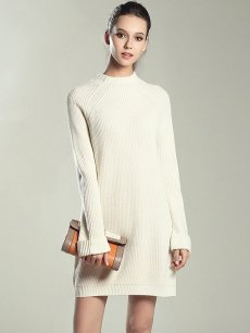 Womens Knit Sweater Jumper Dress Solid Color Loose Pullover