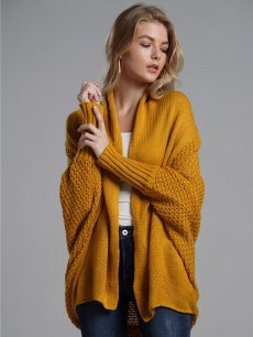 Solid Batwing Sleeve Cardigan Sweater