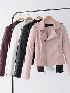 Womens Faux Leather Jacket PU Leather Biker Moto Jacket Outfits