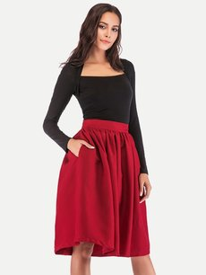 Womens Midi Skirt Vintage Solid Color Side Pockets Pleated A Line Knee Length Skirt